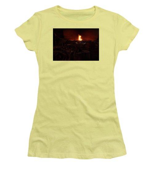 Women's T-Shirt (Junior Cut) featuring the digital art Blacksmith Shop by Chris Flees