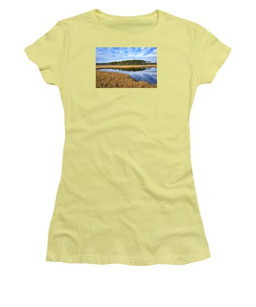 Women's T-Shirt (Junior Cut) featuring the photograph Blackwater National Wildlife Refuge In Maryland by Brendan Reals