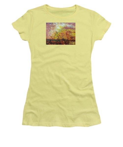 Women's T-Shirt (Junior Cut) featuring the painting Blazing Prairie by Jacqueline Athmann