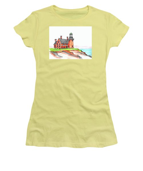 Block Island South Lighthouse Women's T-Shirt (Athletic Fit)