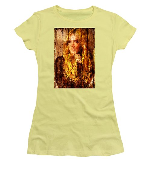 Blond Wood Inlay Women's T-Shirt (Junior Cut) by Andrea Barbieri