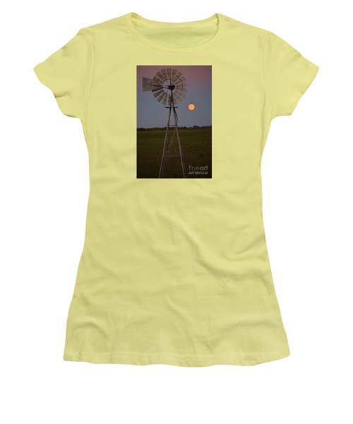 Blood Moon And Windmill Women's T-Shirt (Athletic Fit)