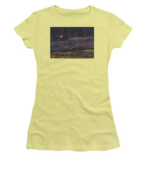 Blood Moon Over Boulder Women's T-Shirt (Junior Cut) by Anne Gifford