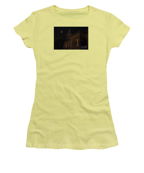 Women's T-Shirt (Junior Cut) featuring the photograph Blood Moon Over St. Johns Church by Keith Kapple