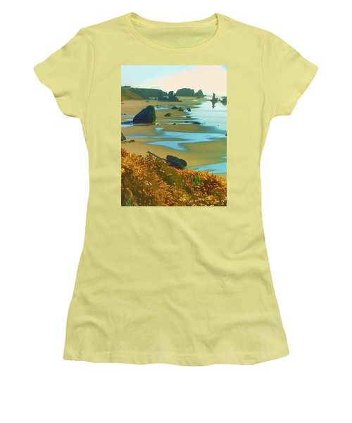 Blooming Bandon Watercolor Women's T-Shirt (Junior Cut) by Wendy McKennon