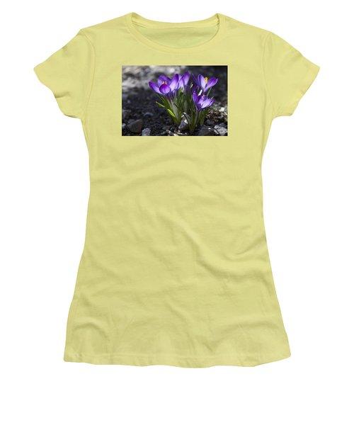 Women's T-Shirt (Junior Cut) featuring the photograph Blooming Crocus #2 by Jeff Severson