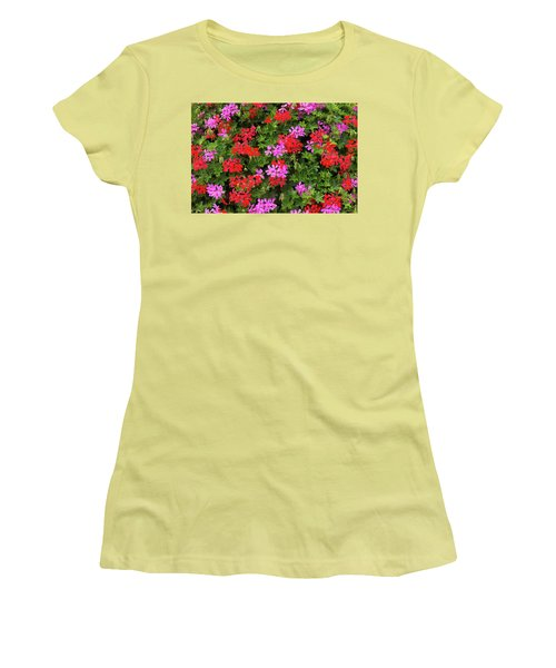 Blooming Flowers Background Women's T-Shirt (Junior Cut) by Hans Engbers