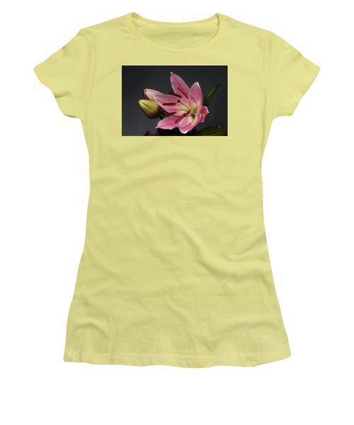 Blossoming Pink Lily Flower On Dark Background Women's T-Shirt (Junior Cut) by Sergey Taran