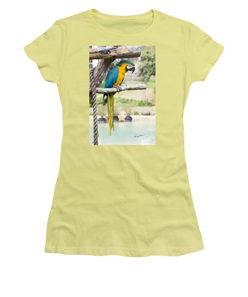 Blue And Gold Macaw Women's T-Shirt (Athletic Fit)