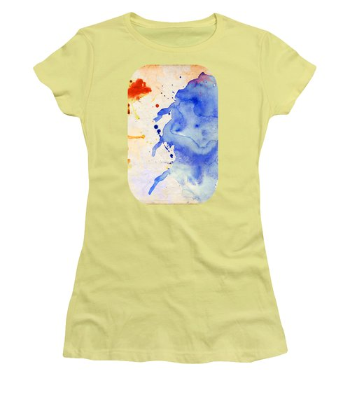 Blue And Orange Color Splash Women's T-Shirt (Athletic Fit)
