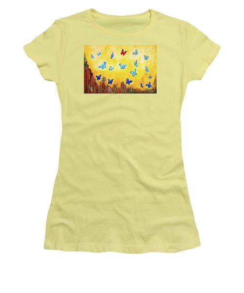 Blue And Red Butterflies Women's T-Shirt (Athletic Fit)
