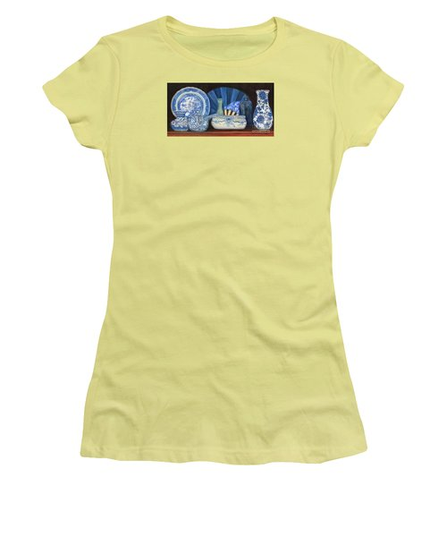 Blue And White Porcelain Ware Women's T-Shirt (Junior Cut) by Marlene Book