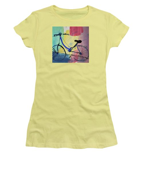 Blue Bicycle Women's T-Shirt (Junior Cut) by Amara Dacer