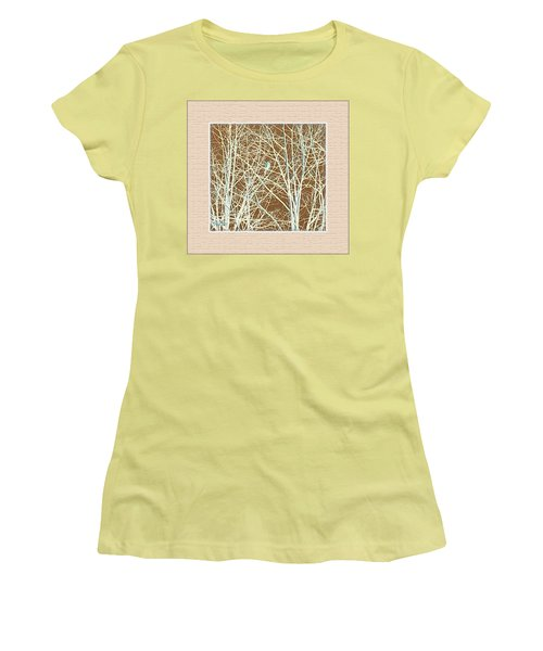 Women's T-Shirt (Junior Cut) featuring the photograph Blue Bird In Winter Tree by Felipe Adan Lerma