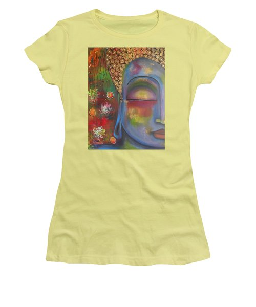 Buddha In Blue Meditating  Women's T-Shirt (Junior Cut) by Prerna Poojara