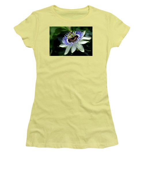 Blue Crown Passion Flower Women's T-Shirt (Junior Cut) by Debbie Oppermann