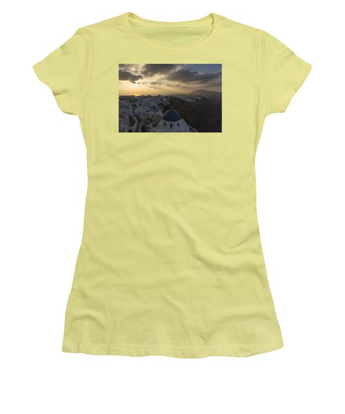 Women's T-Shirt (Junior Cut) featuring the tapestry - textile Blue Dome - Santorini by Kathy Adams Clark