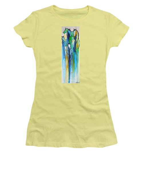 Women's T-Shirt (Junior Cut) featuring the painting Blue Drip 2 by Cher Devereaux