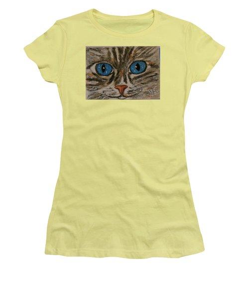 Blue Eyed Tiger Cat Women's T-Shirt (Junior Cut) by Kathy Marrs Chandler
