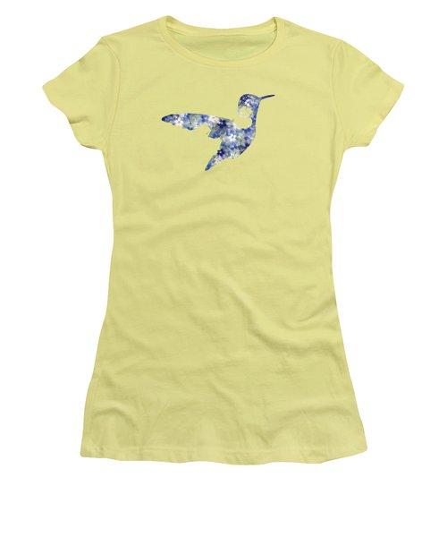 Blue Floral Hummingbird Art Women's T-Shirt (Athletic Fit)