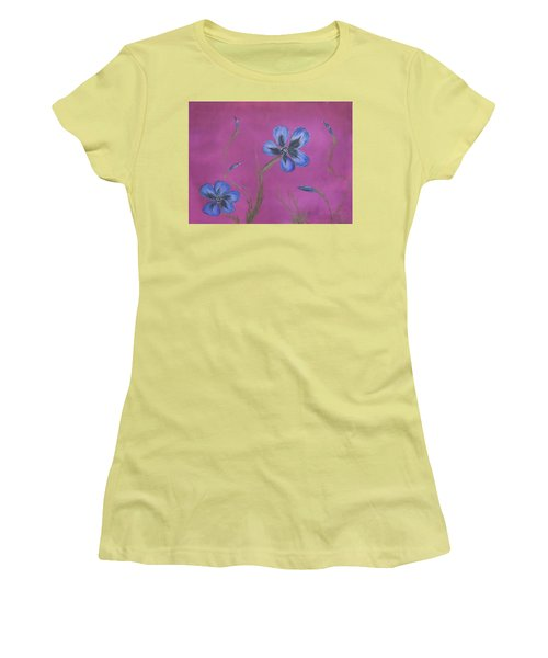 Blue Flower Magenta Background Women's T-Shirt (Athletic Fit)