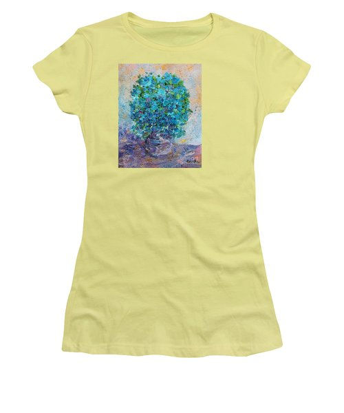 Women's T-Shirt (Junior Cut) featuring the painting Blue Flowers In A Vase by AmaS Art