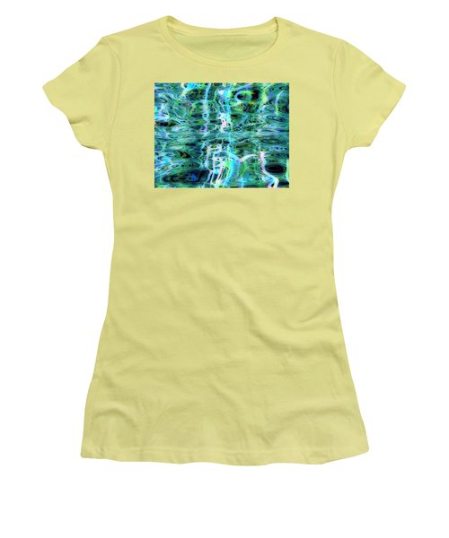 Blue Green Abstract 091015 Women's T-Shirt (Junior Cut) by Matt Lindley
