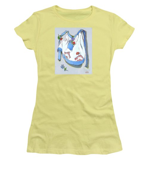 Women's T-Shirt (Junior Cut) featuring the painting Blue Handkerchief Apron by Susan Thomas