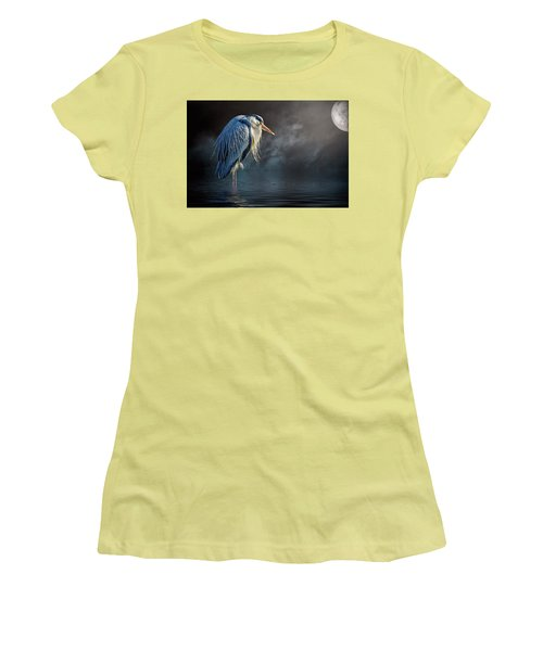Blue Heron Moon Women's T-Shirt (Junior Cut) by Brian Tarr