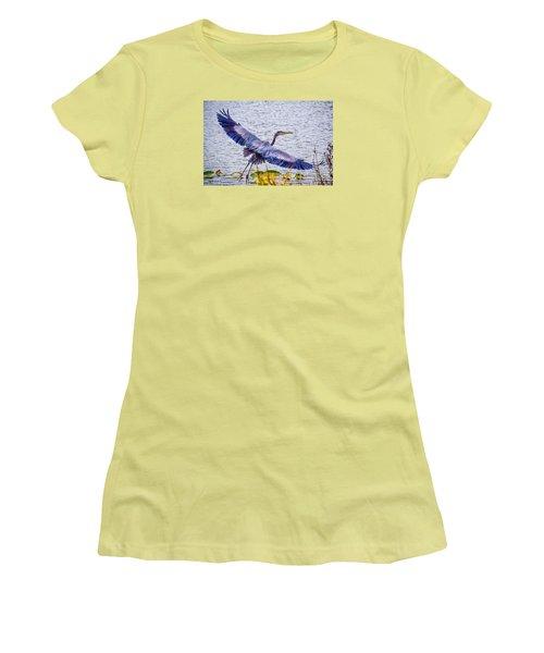 Blue Heron  Take Off  Women's T-Shirt (Junior Cut) by Peggy Franz