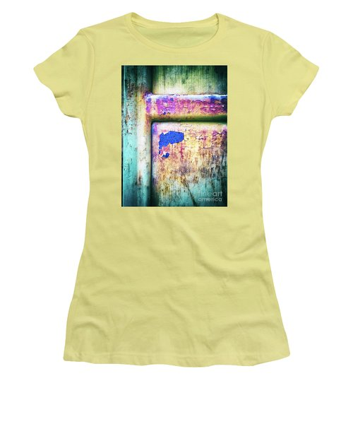 Women's T-Shirt (Athletic Fit) featuring the photograph Blue In Iron Door by Silvia Ganora