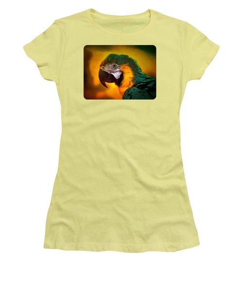 Blue Macaw Parrot Portrait Women's T-Shirt (Athletic Fit)