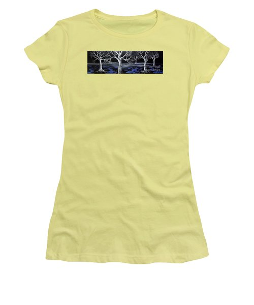 Women's T-Shirt (Junior Cut) featuring the painting Blue Medadow by Kenneth Clarke