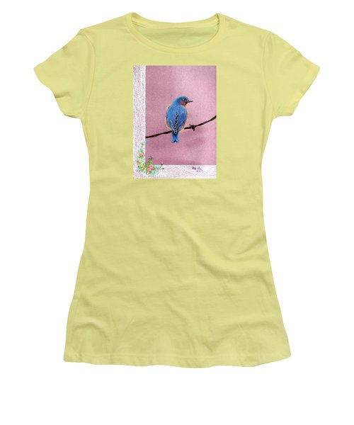 Women's T-Shirt (Junior Cut) featuring the drawing Blue by Mike Ivey