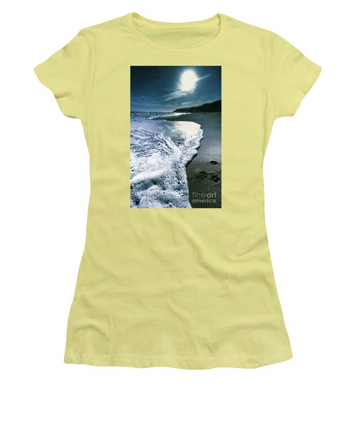 Women's T-Shirt (Athletic Fit) featuring the photograph Blue Moonlight Beach Landscape by Jorgo Photography - Wall Art Gallery