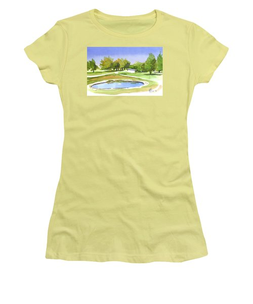 Women's T-Shirt (Junior Cut) featuring the painting Blue Pond At The A V Country Club by Kip DeVore