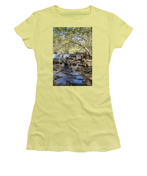 Blue Puddle Falls Women's T-Shirt (Athletic Fit)