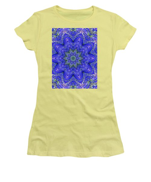 Blue Purple Lavender Floral Kaleidoscope Wall Art Print Women's T-Shirt (Junior Cut) by Carol F Austin
