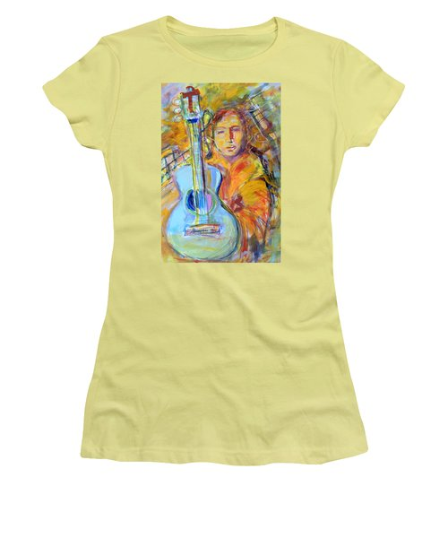 Women's T-Shirt (Junior Cut) featuring the painting Blue Quitar by Mary Schiros