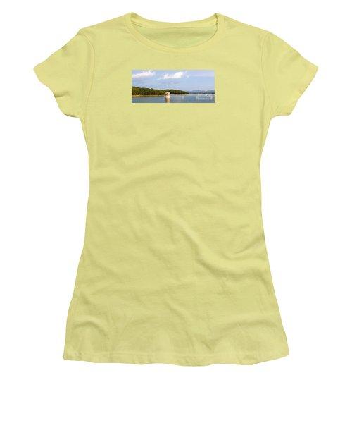 Women's T-Shirt (Junior Cut) featuring the photograph Blue Ridge Dam by Michael Waters