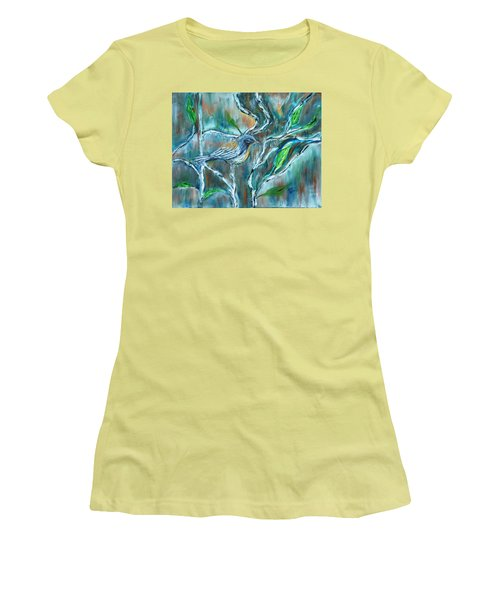 Blue Warbler In Birch Women's T-Shirt (Athletic Fit)