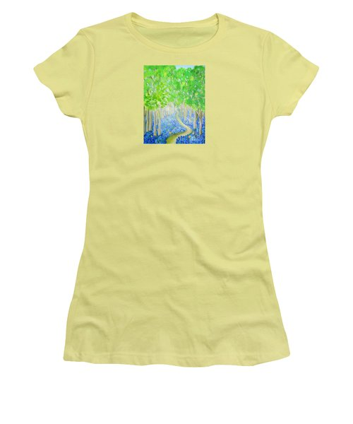 Bluebell Wood With Butterflies Women's T-Shirt (Athletic Fit)