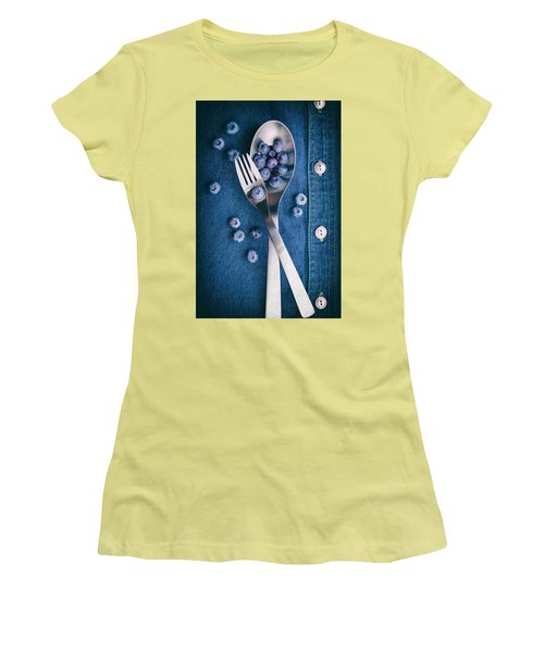 Blueberries On Denim II Women's T-Shirt (Athletic Fit)