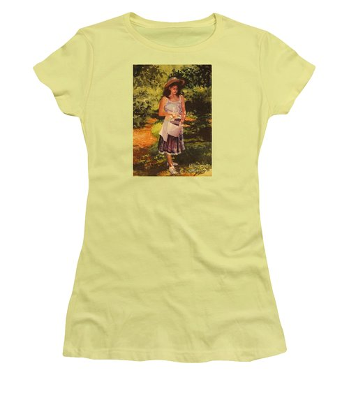 Women's T-Shirt (Junior Cut) featuring the painting Blueberry Girl by Elizabeth Carr