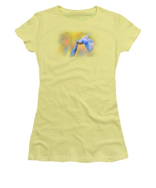 Bluebird Spring Flight Women's T-Shirt (Junior Cut) by Jai Johnson