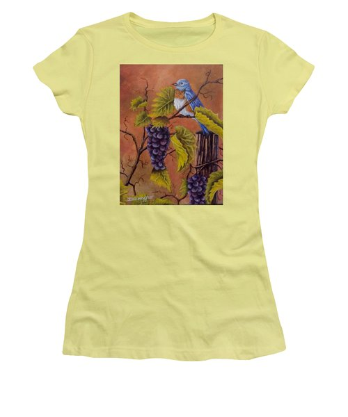 Bluey And The Grape Vine Women's T-Shirt (Junior Cut) by Dan Wagner