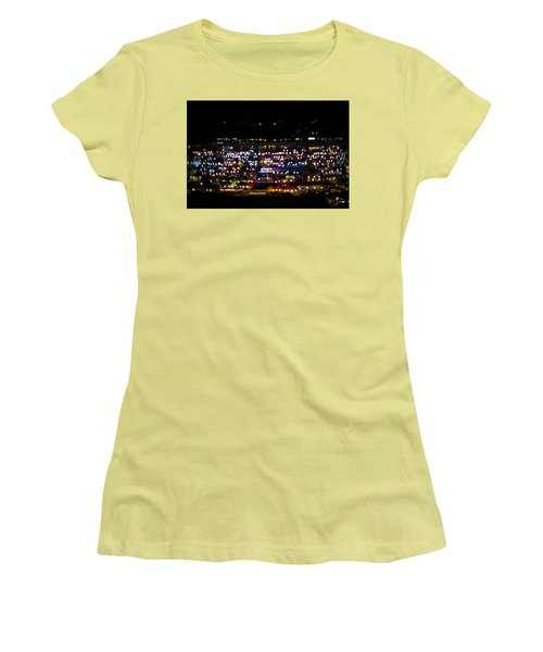 Women's T-Shirt (Junior Cut) featuring the photograph Blurred City Lights  by Jingjits Photography
