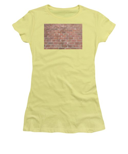 Women's T-Shirt (Athletic Fit) featuring the photograph Blurred Orange Brick Wall,floor Exterior,interior Pattern Design by Jingjits Photography