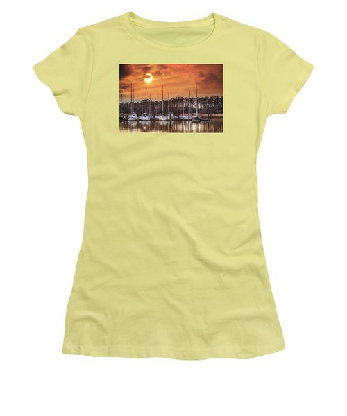 Boat Marina On The Chesapeake Bay At Sunset Women's T-Shirt (Athletic Fit)