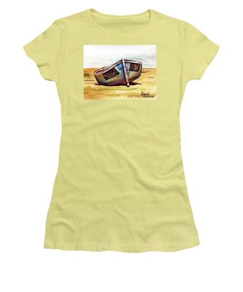 Boat On Beach Women's T-Shirt (Athletic Fit)